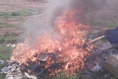 A picture circulating on social media showing the Bibles being burnt.