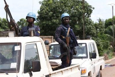 Photo d'illustration - Des Casques bleus de la Mission multidimensionnelle intégrée des Nations Unies pour la stabilisation en République centrafricaine (MINUSCA).
