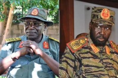 South Sudan's former Chief of General Staff, Gen Paul Awan Malong and President Salva Kiir.