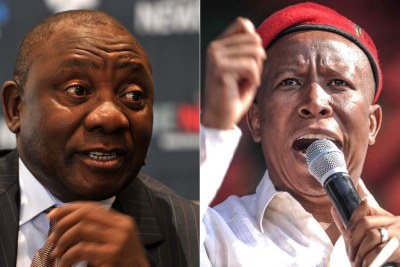 Left: Deputy President Cyril Ramaphosa. Right: Economic Freedom Fighters leader Julius Malema.