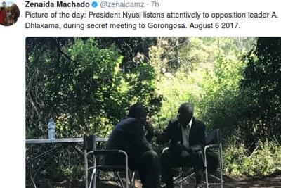 Mozambican President Filipe Nyusi and the leader of the Renamo, Afonso Dhlkama in Gorongosa.