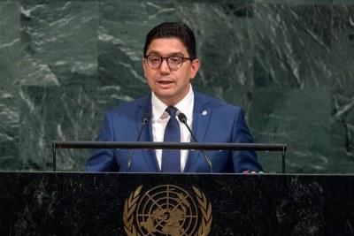 (Photo d'archives) - Nasser Bourita, Ministre des affaires étrangères et de la coopération internationale du Royaume du Maroc, prend la parole lors du débat général de la soixante-douzième session de l'Assemblée générale.
