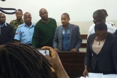 Embakasi East MP Babu Owino appears before a Kibera court on September 28, 2017.