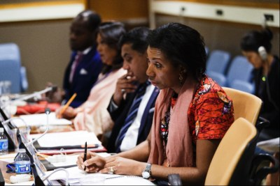 Jeanine Mabunda participates in a high-level dialogue on ending the stigma associated with sexual violence at the 72nd United Nations General Assembly.