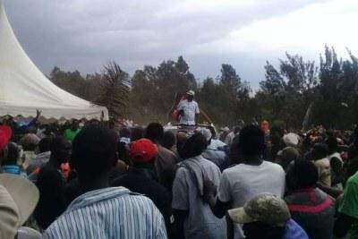 Nasa leader Raila Odinga arriving at Kamukunji Grounds, Nairobi for a rally on October 18, 2017.