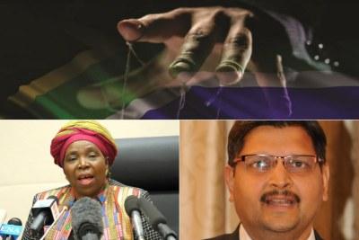 Top: Title image of former public protector Thuli Madonsela's State Capture report. Bottom-left: ANC MP Nkosazana Dlamini-Zuma. Bottom-right: Atul Gupta.