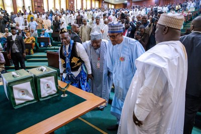 President Muhammadu Buhari presents national budget (file photo).