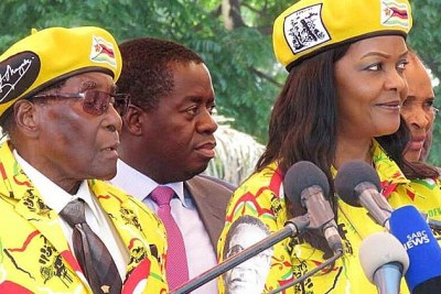 President Robert and Mrs Grace Mugabe at a rally at the ruling party headquarters after the sacking of the Vice President.