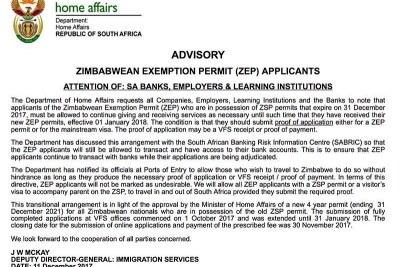 DHA statement on Zimbabwean Exemption Permit.