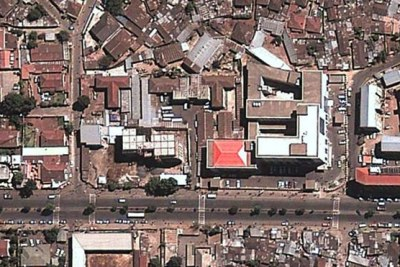"Aerial view of ""Maekelawi"" compound, the main federal police investigation center, in Central Addis Ababa, on February 18, 2013."