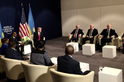 Presidents Trump and Kagame meeting at the World Economic Forum in Davos