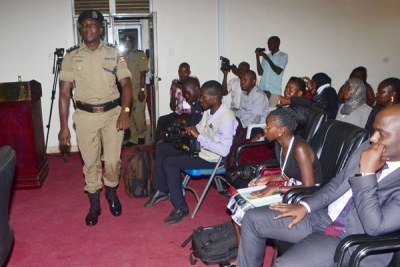 Former Buyende District Police Commander Muhammad Kirumira in police court.