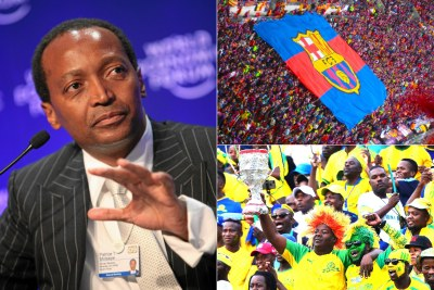 Left: South African billionaire Patrice Motsepe. Top-right: FC Barcelona supporters. Bottom-right: Mamelodi Sundowns FC supporters.