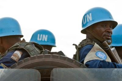 Des Casques bleus de la MINUSCA lors d'une patrouille à Bangui (archives).
