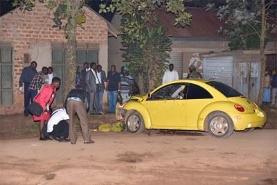 Arua Municipality MP Ibrahim Abiriga's bullet-riddled car.