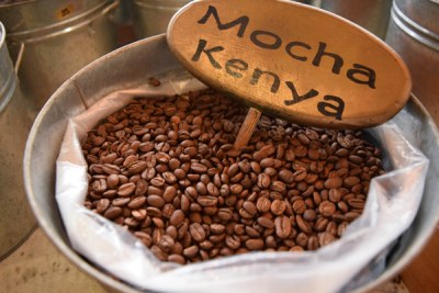 Kenya coffee on display.