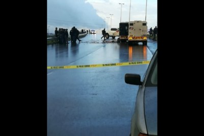 The scene of a cash-in-transit heist on Jakes Gerwel Drive in Cape Town.