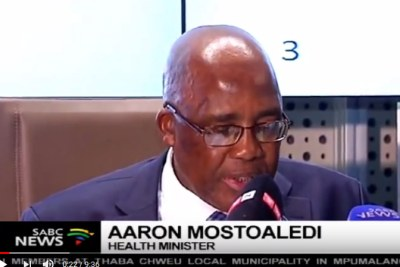 Health minister Aaron Motsoaledi addresses the media on amendments to the country's health services.