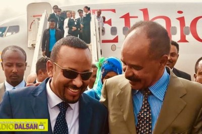 Prime Minister Abiy Ahmed arrived in Eritrea's capital and met up with President Afwerki in Asmara.