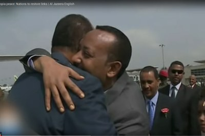PM Abiy Ahmed and Eritrea's President Isaias Afwerki (screenshot).