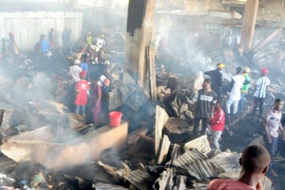 Jos Terminus Market after the fire.