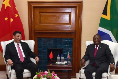 President Cyril Ramaphosa with President Xi Jingping of China