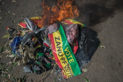 Protesters in Harare burnt ZANU-PF posters.