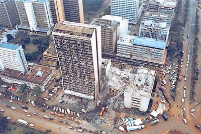 An aerial view of the aftermath of the bombing of the US Embassy in Nairobi on August 7, 1998.