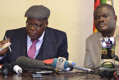 MDC-Alliance officials Tendai Biti and Morgan Komichi (file photo).