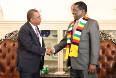 President Mnangagwa welcomes United States of America Ambassador to Zimbabwe Brian Nichols at State House in Harare.