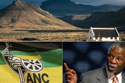 Top: Farmhouse in the Free State. Bottom-left: African National Congress flag. Bottom-right: Former president Thabo Mbeki.