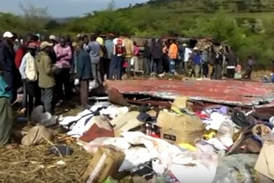 Accident scene where a bus that was traveling from Nairobi to Kisumu crashed at Fort Ternan on Londiani-Muhuroni Road, Kericho County.