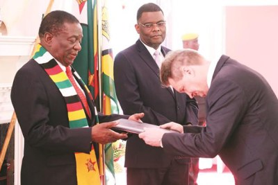 Incoming European Union Ambassador to Zimbabwe Timo Olkkonen presents his credentials to President Emmerson Mnangagwa at State House in Harare.