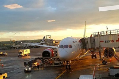 The Kenya Airways plane, that left the Jomo Kenyatta International Airport in Nairobi on Sunday night, is pictured at the John F. Kennedy International Airport in New York, the United Stats, after landing on October 29, 2018.