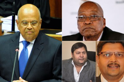 Left: Former finance minister Pravin Gordhan. Top-right: Former president Jacob Zuma. Bottom-right: Ajay Gupta (left) and Atul Gupta (right).