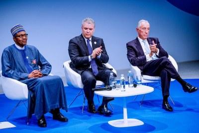 President Muhammadu Buhari at the Paris Peace Forum.