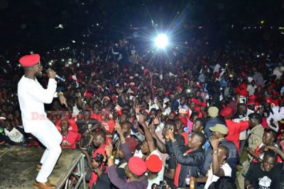 Uganda's musician and lawmaker Bobi Wine on stage at his Kyarenga concert on November 10, 2018. Police arrested more than 80 suspects from the concert (file photo).