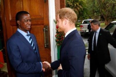 Prince Harry and President Edgar Lungu.