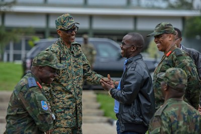 President Kagame talking to soldiers during the RDF Combined Arms Field Training Exercise at the Rwanda Defence Forces Combat Training Centre in Gabiro, Eastern Province.