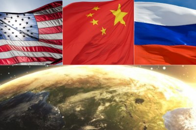 Top, left to right: Flags for the U.S., China and Russia. Bottom: African continent.