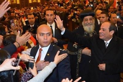 Le Président Abdel Fattah El-Sissi lors de l'inauguration de la cathédrale Naissance du Christ.