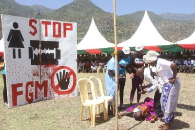 Students from various universities enact a play during the International Day of Zero Tolerance on Female Genital Mutilation, at Kerio Valley Boys Secondary School in Tot, Elgeyo-Marakwet County, on February 6, 2016.