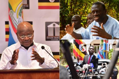 President yoweri Museveni, MP Bobi Wine and main opposition leader Kizza Besigye.