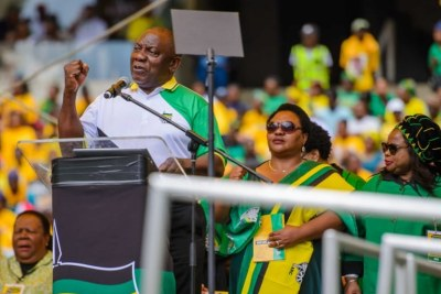 President Cyril Ramaphosa addresses ANC supporters at the governing party's election manifesto launch at Durban's Moses Mabhida Stadium on 12 January 2019.