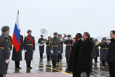 President Emmerson Mnangagwa stands at attention as Zimbabwe's national anthem is played by a Guard of Honour mounted for him by the Russian military in Moscow. With Mnangagwa is Russia's Deputy Minister of Foreign Affairs (the Middle East and Africa) Bogdanov Mikhail Leonidovich.
