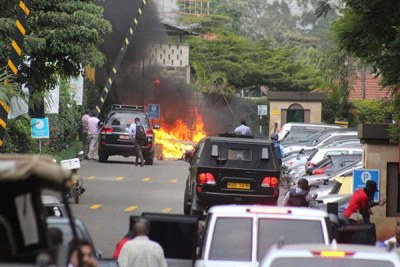The scene of the terror attack at the DusitD2 hotel in Nairobi on January 15, 2019.