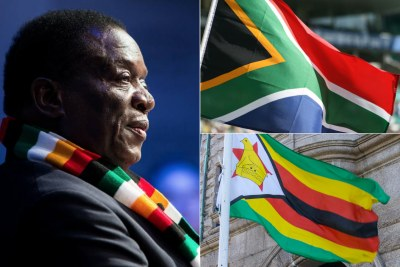 Left: Zimbabwean President Emmerson Mnangagwa. Top-right: Flag of South Africa. Bottom-right: Flag of Zimbabwe.