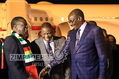 President Emmerson Mnangagwa with his deputies Constantino Chiwenga and Kembo Mohadi on his arrival at Robert Gabriel Mugabe International Airport.