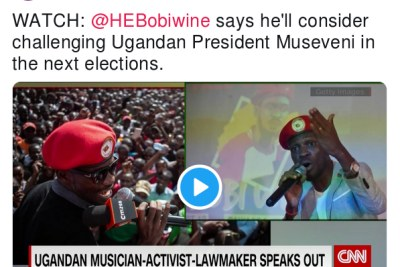 Robyn Curnow tweet about Bobi Wine.