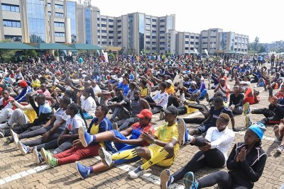 Residents of Kigali City during car free day.